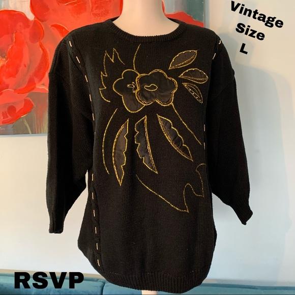 RSVP size l large vintage sweater gold trim top